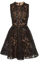 Elie Saab Embroidered Black Tulle and Silk Georgette Short Dress - Lyst