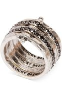 Lucky Brand Silvertone Stack Attached Ring - Lyst