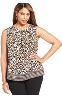 Jones New York Collection Plus Size Sleeveless Animalprint Top - Lyst