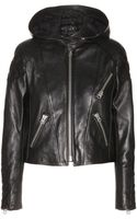 Acne Studios Magna Hooded Leather Jacket - Lyst