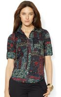 Lauren by Ralph Lauren Plus Size Tab Sleeve Patchwork Print Shirt - Lyst