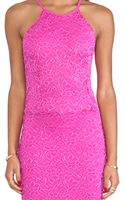 Donna Mizani Passion Lace Racer Dress in Fuchsia - Lyst
