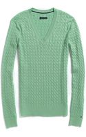 Tommy Hilfiger Solid Cable V Neck Sweater - Lyst