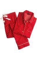 J.Crew Pajama Set in Polka-dot Flannel - Lyst