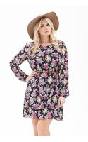Forever 21 Belted Rose Print Dress - Lyst