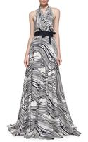 Carolina Herrera Wave-striped Halter Gown - Lyst
