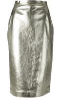MSGM Metallic Pencil Skirt - Lyst