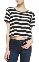 Free People Keeping It Real Striped Crop Tee Blackwhite - Lyst