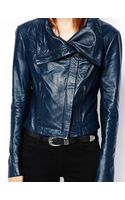 Asos Leather Jacket with Funnel Neck - Lyst