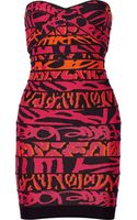 Hervé Léger Printed Bandage Mini Dress - Lyst