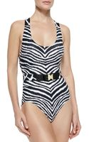 MICHAEL Michael Kors Belted Zebra-print One-piece Swimsuit - Lyst