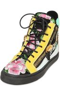 Giuseppe Zanotti 20mm Suede Floral Embroidered Sneakers - Lyst