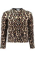 Oscar de la Renta Cropped Leopard Knit Jacket - Lyst