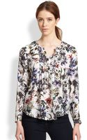 Rebecca Taylor Silk Print Pintucked Blouse - Lyst