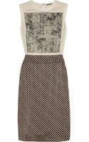 Bottega Veneta Embroidered Printed Stretchsilk Dress - Lyst