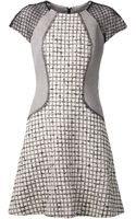 Lela Rose Multicolor Boucle Dress with Black Mesh Sleeves - Lyst