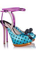 Sophia Webster Bardot Metallic Leather Sandals - Lyst