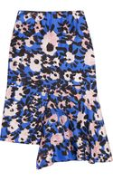 Marni Printed Draped Silktwill Skirt - Lyst