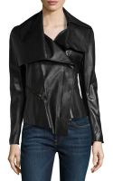 Donna Karan New York Asymmetric Leather Motorcycle Jacket - Lyst