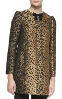 RED Valentino Bowneck Heart Leopardprint Topper Coat Toffeeblack - Lyst