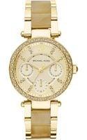 Michael Kors Ladies Parker Goldtone Horn Chronograph Glitz Watch - Lyst