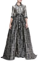 Carolina Herrera 34sleeve Houndstooth Shirtwaist Ball Gown - Lyst