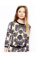 Asos Jacquard Sweater with Knot Front - Lyst