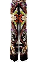Etro Silk Printed Wide Leg Pants - Lyst