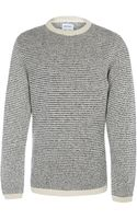 Norse Projects White Sigfred Stripe Crew Neck Lambswool Blend Jumper - Lyst
