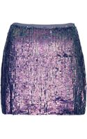Topshop Blue Sequin Mini Skirt - Lyst