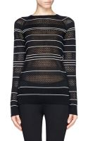 Jason Wu Pointelle Knit Stripe Silk Sweater - Lyst