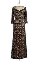 Tadashi Shoji Lace Overlay Gown - Lyst