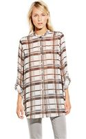 Vince Camuto Button-down Plaid Tunic - Lyst