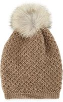 Inverni Cashmere Long Beanie with Fox Pompom - Lyst