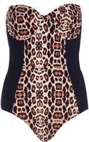 River Island Black Leopard Print Tummy Control Swimsuit - Lyst