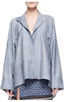 Donna Karan New York Long Sleeve Caftan Shirt with French Cuffs Pale Indigo - Lyst