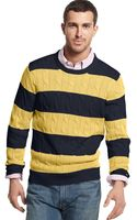 Tommy Hilfiger Connor Cable Stripe Crew Neck Sweater - Lyst