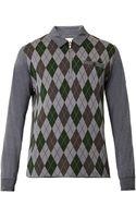 Moncler Gamme Bleu Argyle-intarsia Polo Shirt - Lyst