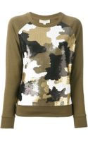 Michael by Michael Kors Sequinned Camouflage Pattern Top - Lyst