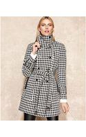 Calvin Klein Houndstooth Wool Blend Trench Coat - Lyst