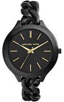 Michael Kors Midsize Black Stainless Steel Slim Runway Threehand Watch - Lyst