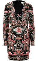 Emilio Pucci Beaded Navajo Print Cocktail Dress - Lyst