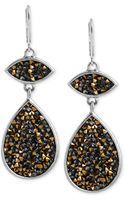 Kenneth Cole New York Two-tone Faceted Teardrop Double Drop Earrings - Lyst