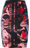 McQ by Alexander McQueen Fitted Leopard and Tartan Print Skirt - Lyst