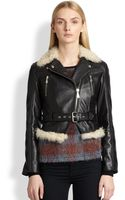 McQ by Alexander McQueen Lamb Shearlingtrimmed Leather Motorcycle Jacket - Lyst