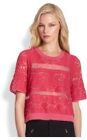Rebecca Taylor Sheer Silk Lace-paneled Top - Lyst