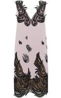 Christopher Kane Floral Lace Trim Wool Dress - Lyst