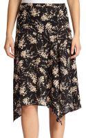 Michael Kors Silk Elderflower-print Skirt - Lyst