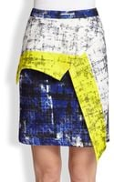 Cut25 By Yigal Azrouël Asymmetrical Paneled Printed Neoprene Skirt - Lyst
