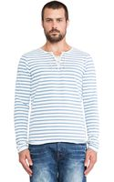 Scotch & Soda Long Sleeve Striped Tee With Drawcord Closure - Lyst